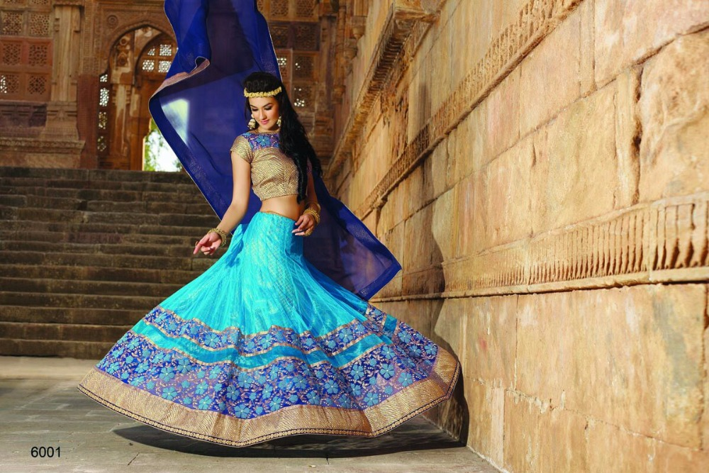 Blue brocket lehenga choli