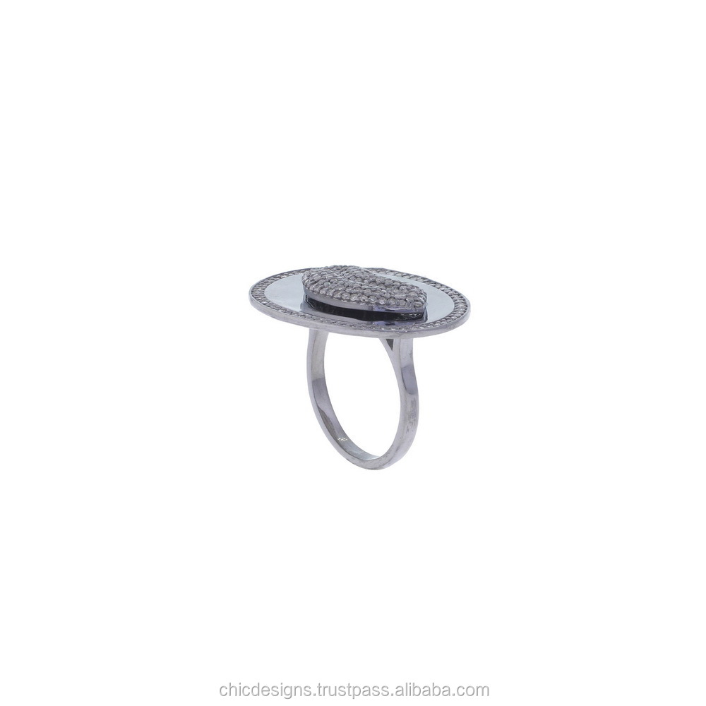 Pave Diamond Matte Finish Finger Ring, 925 Sterling Silver Lip Designer Finger Ring Jewelry, Party Wear Finger Ring