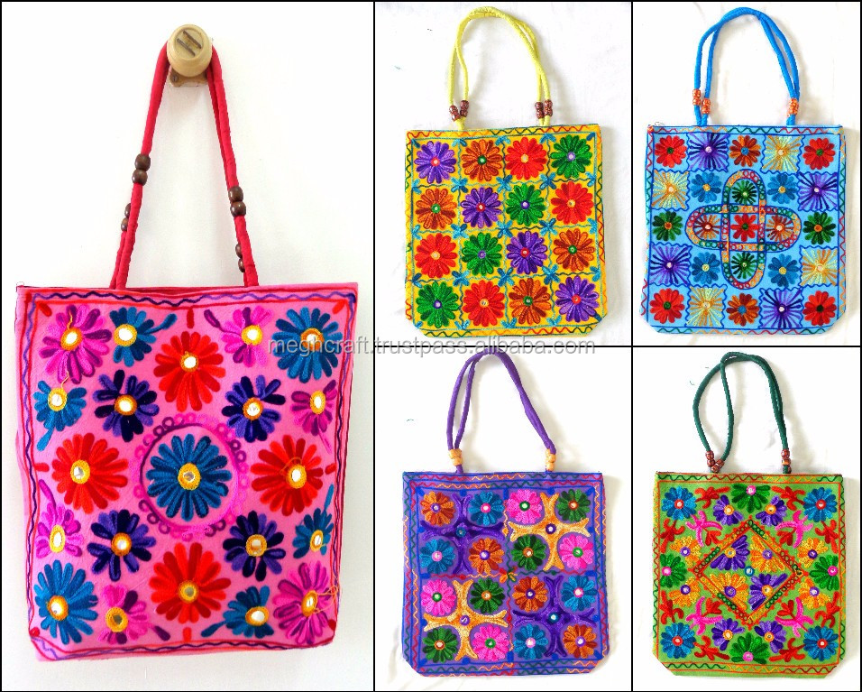 Wholesale lot of 5 piece Kutch Embroidered Handbag-Indian Traditional Shoulder bag-Floral embroidery Banjara style shoulder bag