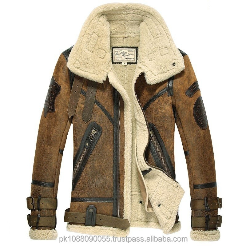 Men's Vintage Designer Sheepskin Shearling Leather Motorcycle ...