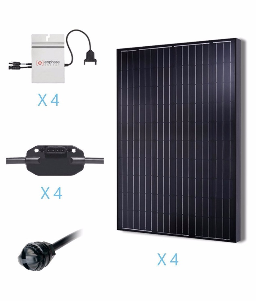 1000 Watts Monocrystalline PV Grid-Tied Solar System Solar Panel Kit UL Listed