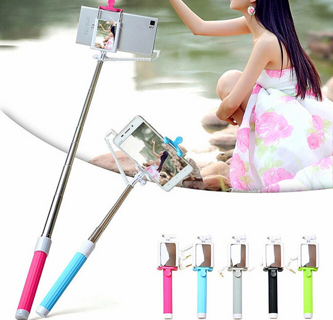mirror monopod bling aluminum foldable selfie stick with tripod and cable 2016 for ipod touch 5