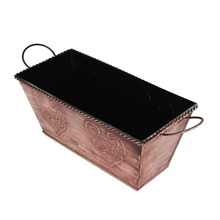 Store Indya Metal Rectangular Bucket Planter with Faux Rustic Finish and 2 Sturdy Handles