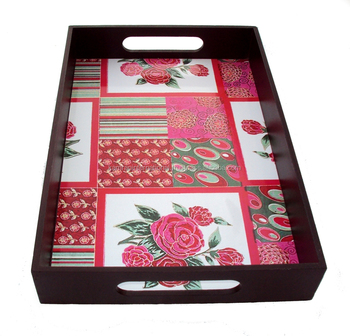 WHOLESALE FLOWER THEME DECORATION WOODEN FOOD SERVING TRAY FOR WEDDING, PARTY, HOTEL, HOME DECORATION