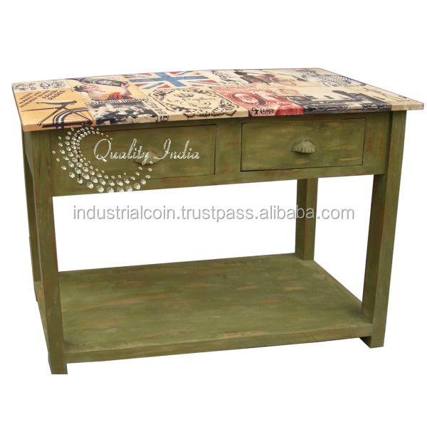 Green Color Two Doors Wooden Side Table