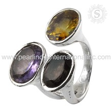 Citrine, Amethyst, Quartz Natural Gemstone Silver Jewelry Wholesale Silver Rings 925 Sterling Silver Jewellery Ring Supplier