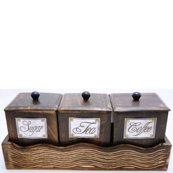 3Pcs Custom Vintage Style Wooden Coffee Canisters