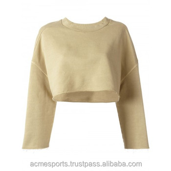 new design ladies crop top crew neck long sleeves pullover ladies sweatshirts