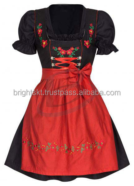 """Handmade"" Dark Blue 100% Cotton Dirndl Bavarian Dress (Traditional Clothing"