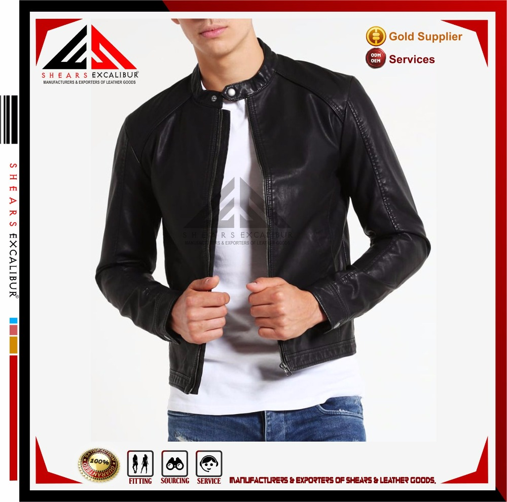 Customized fashion black plain waterproof fitness men cheap synthetic leather jacket wholesale