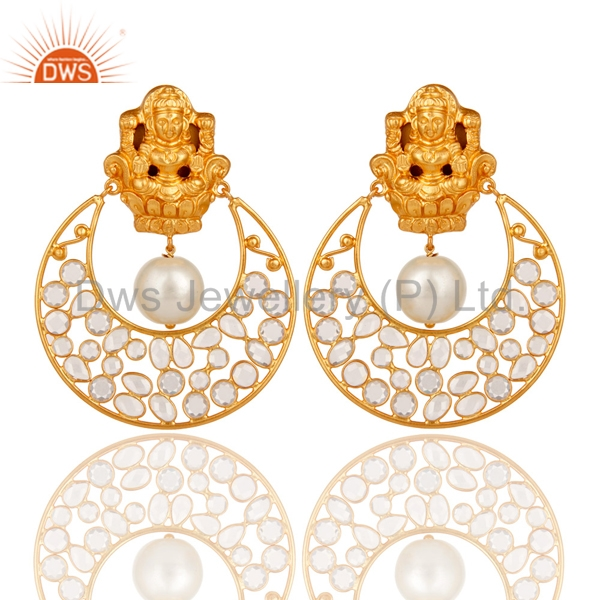 Designer Freshwater Pearl And Cz Gemstone Earrings Gold Plated 925 Silver Polki Earrings Jewelry Manufacturers