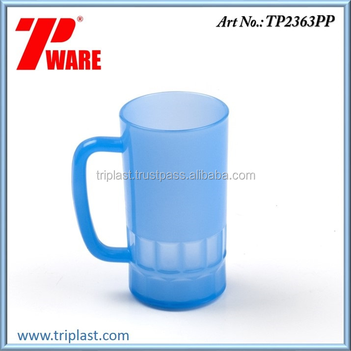 16 Ounce Beverage Plastic Water Mug or Glass Blue Colour PP