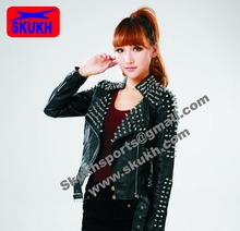 womens PUNK moto metal rivets Original leather silver studded slim spike jackets coat