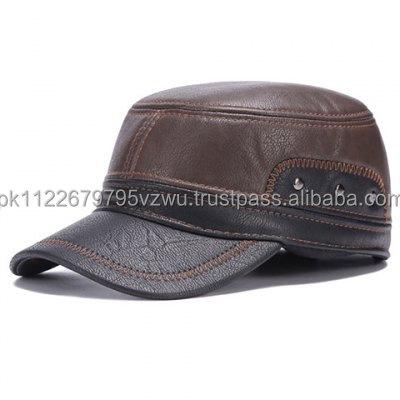 Top Quality Fashion Leather Military hat for men in contrast brown and coffee color