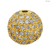 14K yellow gold pave diamond spacer ball finding round 10 mm bead jewelry