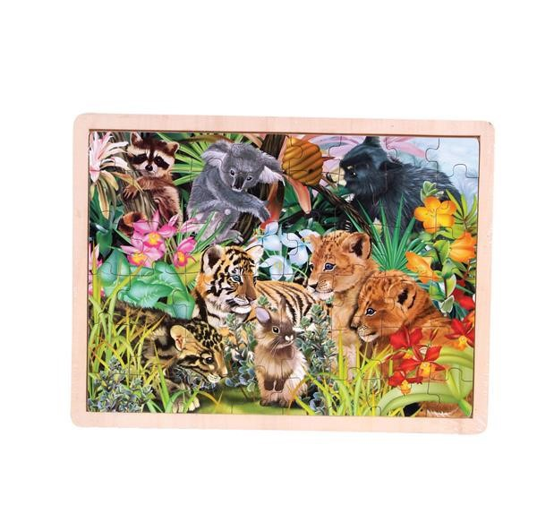 48PC WOODEN BABY ANIMAL PUZZLE
