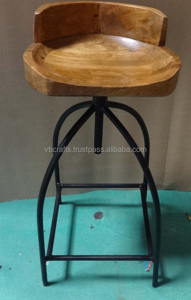 Industrial Design Bar Chair Wooden Seat