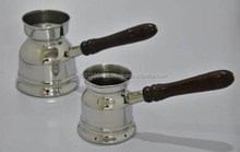 Stainless steel Turkish Arabic coffee pots & warmers with Wooden Handle