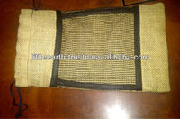 ; Jute bag with black mesh ;Drawstring Jute Bag; Jute Bag with window