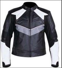Black & White Color Gents Motorcycle Fashion Leather Jacket
