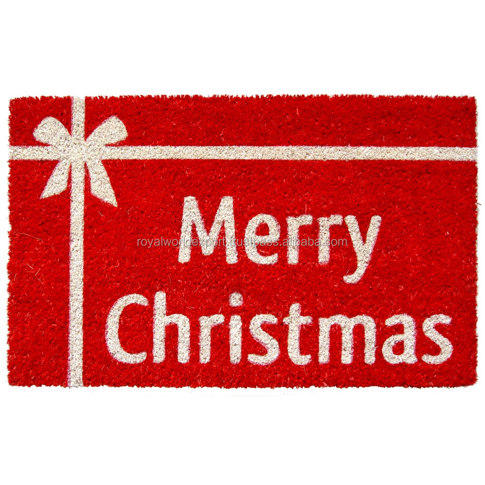 merry christmas home decor coir mats with nature coir use in home entrance