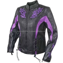 Xelement Women Purple Black Leather Flower Armored Motorcycle Jacket
