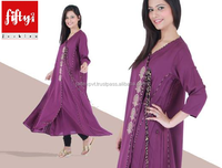 New Purple Wonderfully Embroidered Frock Style Kurti For Girls