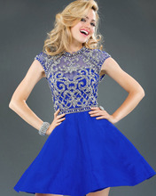 2016 Populer Hot selling Royal Blue Back Open Beaded Short Sexy Evening Cocktail Dress