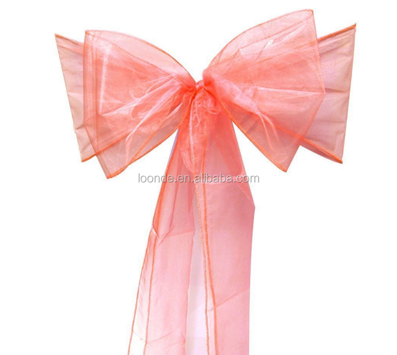 assorted color cheap organza chair sash for wedding and events supplies party decoratio