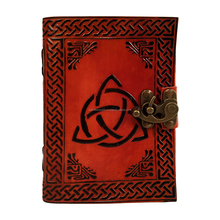 Orange With Black Handmade Celtic Trinity Knot Leather Journal Notebook Diary Shadows Colers NoteBook