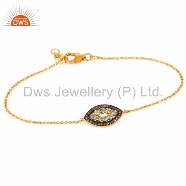 Wholesale Natural Blue Topaz Gold Plated Silver Eye Design Pave Diamond Chain & Link Bracelet Manufacturer of Diamond Jewelry