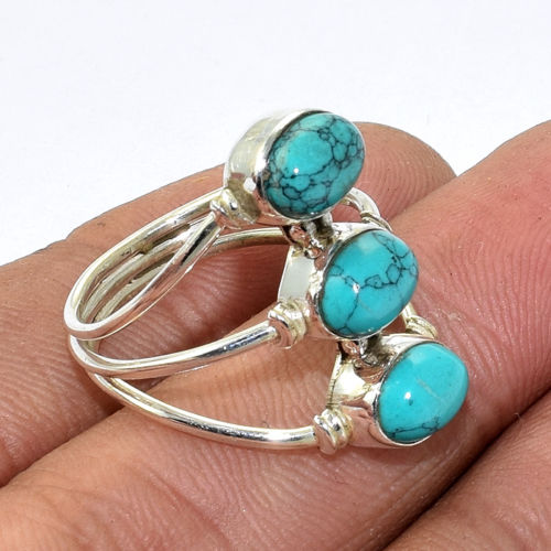 Hot Sale Design Turquoise 3 Gems Ring Sterling Silver Jewelry