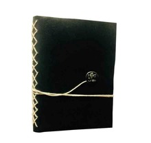 Colorsncraft Genuine Leather Black Antique Designing Brass Button Notebook Of 100 Pages