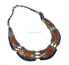 Red coral Lapis Lazuli silver overlay necklace jewelry