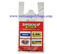 Vietnam packaging white MDPE Plain embossed 8 colored T-shirt carrier shopper bags