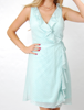 SOFT EMBELLISHED CHIFFON DRESS WITH FRONT RUFFLE FULLY LINED