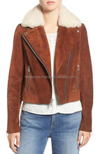 Women's Suede Jacket with Shearling Fur Collar Genuine Leather Chocolate Color FC-7871