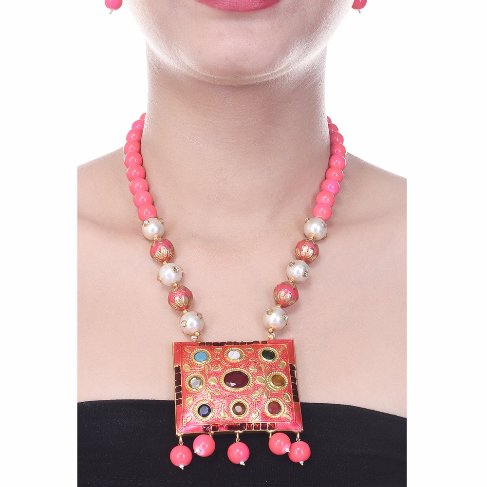 Traditional beaded navratna stone studded jadau necklace set for women at wholesale price