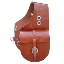 WESTERN TRAIL HORSE BLACK LEATHER SADDLE BAG OR MOTORCYCLE SADDLE BAGS