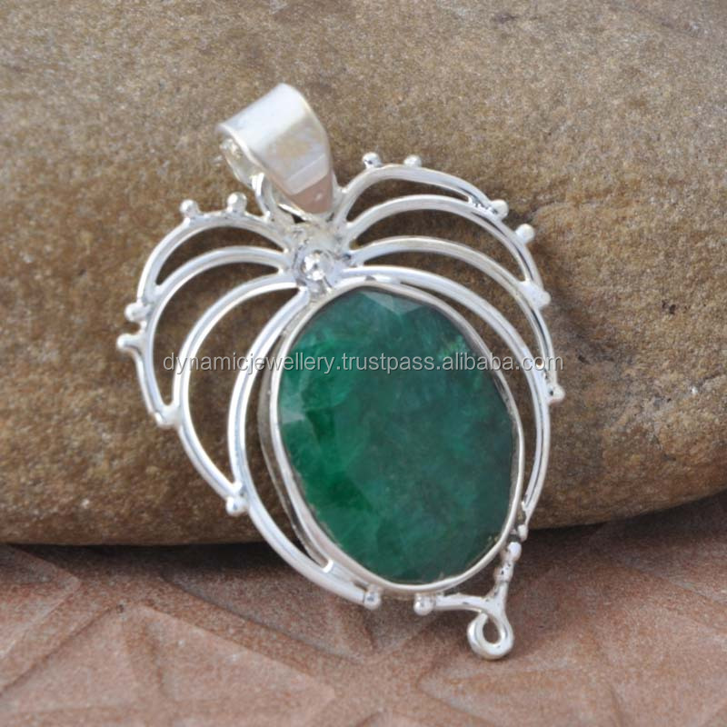 Wholesale Design Pendant Made In India Jewelry 925 Silver Emerald Gemstone Jewelry Pendant Manufacture