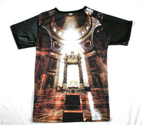 PALACE OF FALLEN GODS T SHIRT PU SLEEVES SUBLIMATED T-SHIRT/High quality Sublimation TSHirt/New PU leather sleeves t shirt