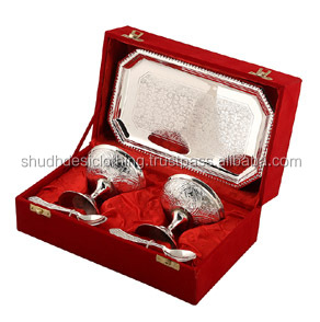 German Silver Ice Cream Bowl Set With Tray / Exclusive Gift Product For New Year
