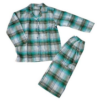 Men pajamas plaid sleepwear cotton custom wholesale pajamas