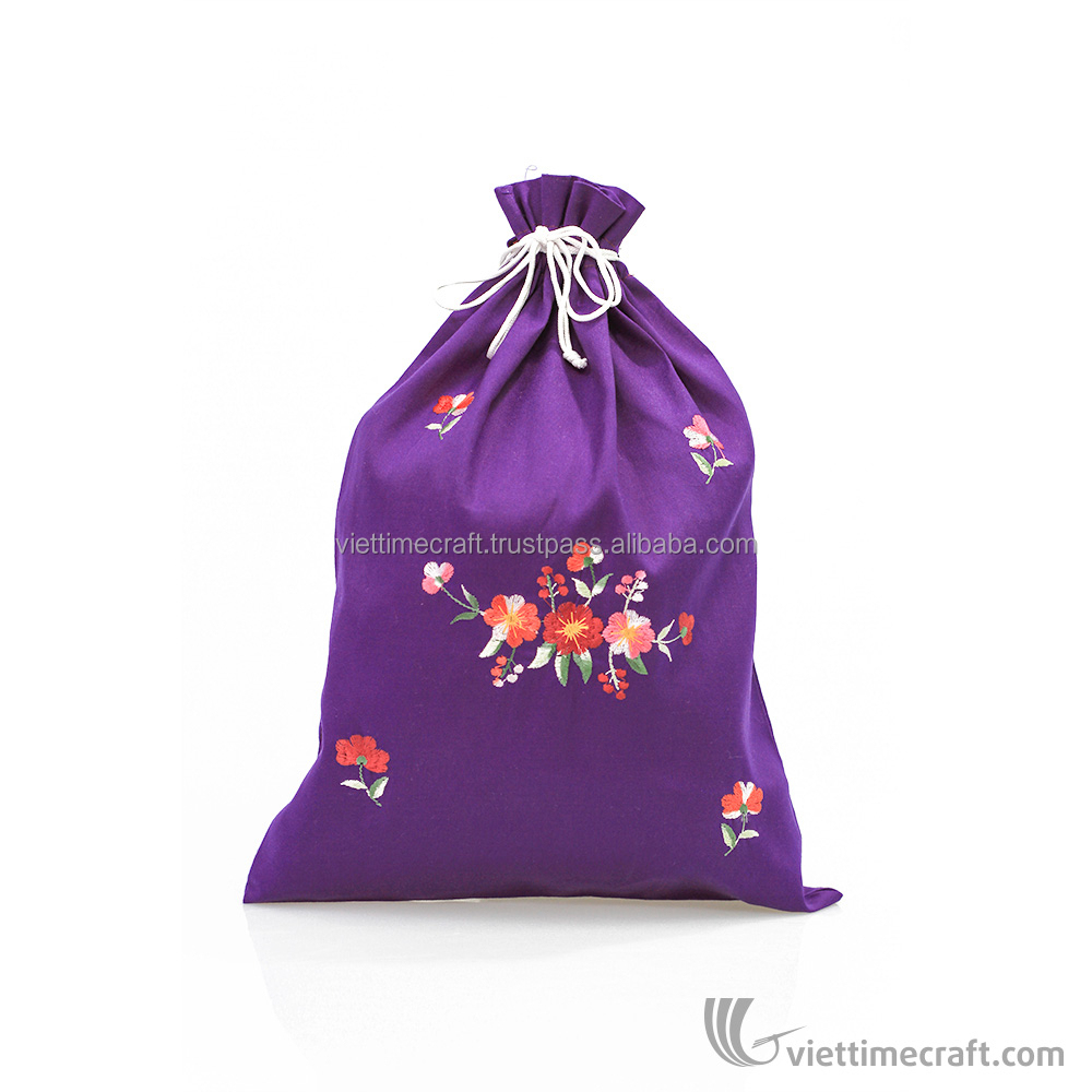 HOT SALE ! Multicolor embroidery promotional drawstring bag, handmade in Vietnam