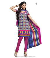 Buy Unstitched Patiala Cotton Synthetic Dress Material