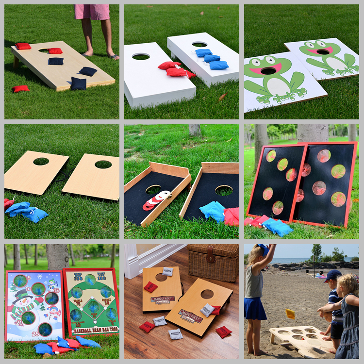 corn hole cornhole bags for Garden wooded bean bag toss game