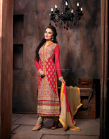 Red color with zardosi embroidery work heavy zari border designer semi stitch salwar kameez