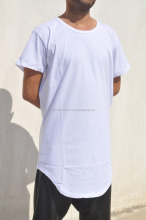 Extended Drop T Shirt Oval Hem // Kanye West Style Silky Long T shirt