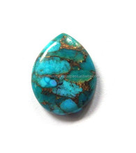 Blue Mohave Turquoise Pear Cabochon Loose Gemstone
