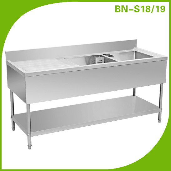 Commercial Kitchen Equipment Double Bowl Restaurant Stainless Steel Sink